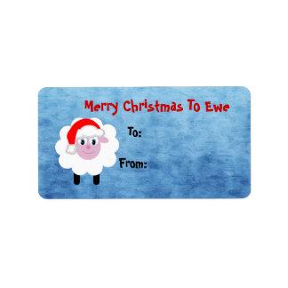 Felices Navidad lindas a las ovejas de la oveja Etiquetas De Dirección
