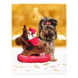 Felices Navidad lindas de Yorkshire Terrier Plantilla De Membrete