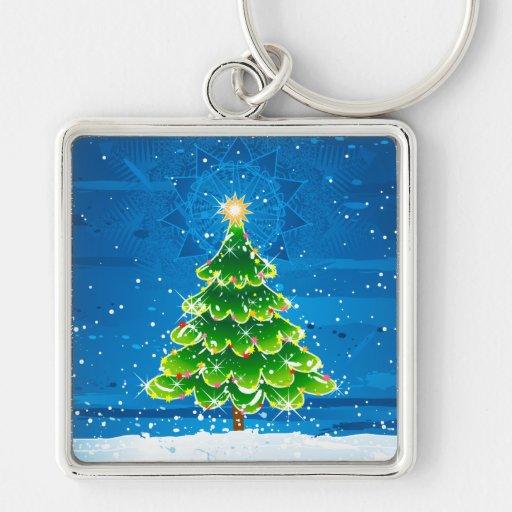 Felices Navidad Llavero Cuadrado Plateado