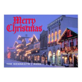 """Felices Navidad - luces de navidad de la calle en Invitación 5"""" X 7"""""""