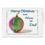 Felices Navidad mamá y Bal multicolor del vidrio d Tarjeta