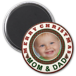 Felices Navidad mamá y foto del día de fiesta del Imán Redondo 5 Cm
