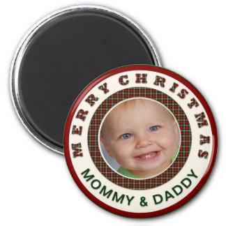 Felices Navidad mamá y foto del personalizado del Imán Redondo 5 Cm