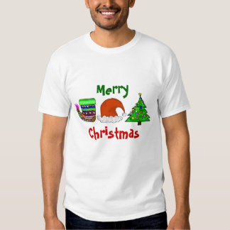 Felices Navidad, media, casquillo, camiseta del Playera