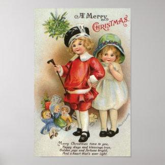 Felices Navidad muchacho y tarjeta del chica Posters