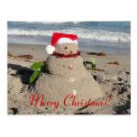 ¡Felices Navidad! muñeco de nieve del coco Postal