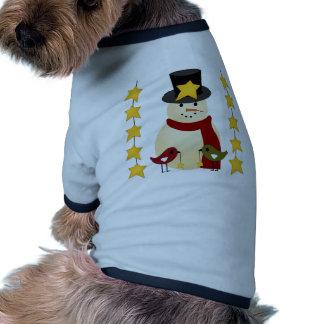 Felices Navidad muñeco de nieve y regalos de las e Camisa De Perro
