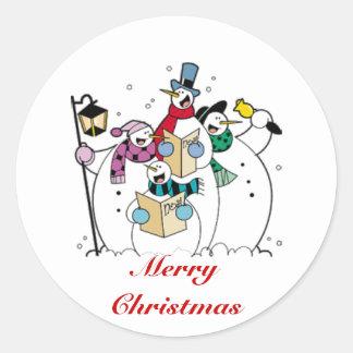 Felices Navidad, muñecos de nieve de Caroling Pegatina Redonda