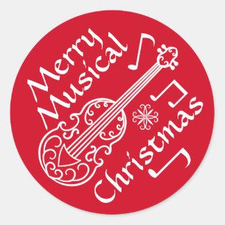 Felices Navidad musicales rojos y violín blanco Pegatina Redonda