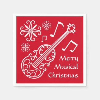 Felices Navidad musicales rojos y violín blanco Servilleta De Papel