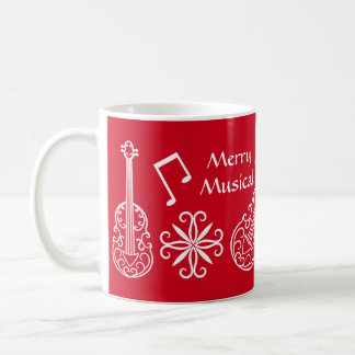 Felices Navidad musicales rojos y violín blanco Taza