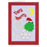 Felices Navidad muy caprichosas de la rana de Tarjeta De Felicitación