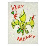 Felices Navidad muy de la flor de lis de los Tarjeta De Felicitación