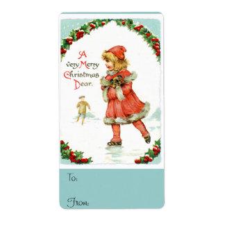 Felices Navidad muy estimado Vintage Christmas Etiqueta De Envío