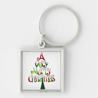 Felices Navidad muy Llavero Cuadrado Plateado