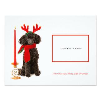 Felices Navidad negras del caniche de juguete Invitación 10,8 X 13,9 Cm
