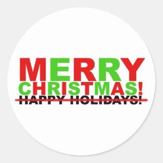 ¡Felices Navidad! (no buenas fiestas) Pegatina Redonda