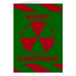 Felices Navidad nucleares radiactivas rojas y Tarjeta De Felicitación