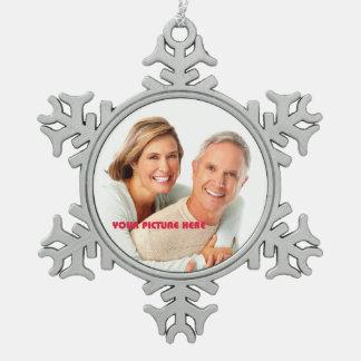 Felices Navidad. Ornamentos de encargo del copo de Adorno De Peltre En Forma De Copo De Nieve
