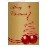 Felices Navidad - oro con la decoración roja Felicitaciones