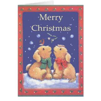 Felices Navidad osos de peluche cariñosos Tarjetas