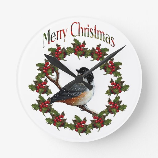 Felices Navidad: Pájaro, guirnalda, arte original Reloj Redondo Mediano