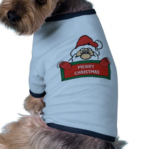 Felices Navidad Papá Noel Camiseta Con Mangas Para Perro
