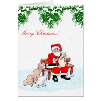 Felices Navidad - Papá Noel con el gato y el perro Tarjeta Pequeña