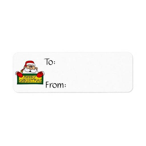 Felices Navidad Papá Noel Etiqueta De Remitente