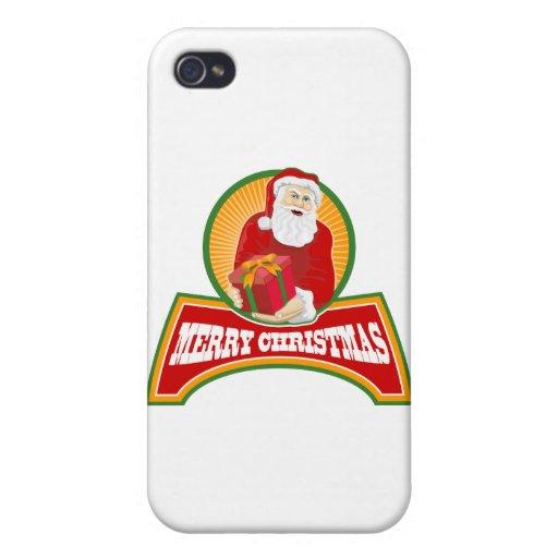 Felices Navidad Papá Noel iPhone 4 Carcasas