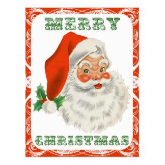 Felices Navidad Papá Noel retro Postal