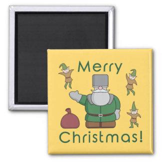 Felices Navidad Papá Noel y duendes Imán Cuadrado