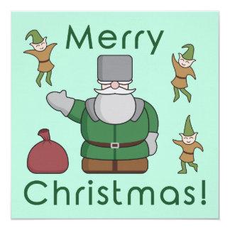 """Felices Navidad Papá Noel y duendes Invitación 5.25"""" X 5.25"""""""