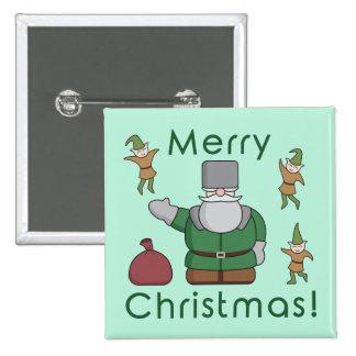 Felices Navidad Papá Noel y duendes Pin Cuadrada 5 Cm
