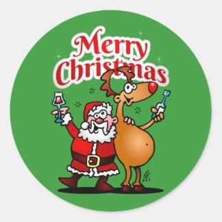 Felices Navidad - Papá Noel y su reno Pegatina Redonda