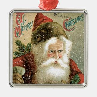 Felices Navidad pasadas de moda Papá Noel Adorno Navideño Cuadrado De Metal