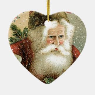 Felices Navidad pasadas de moda Papá Noel Adorno Navideño De Cerámica En Forma De Corazón