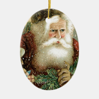 Felices Navidad pasadas de moda Papá Noel Adorno Navideño Ovalado De Cerámica