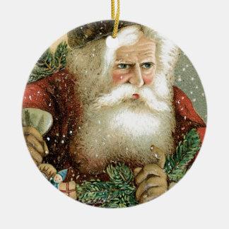 Felices Navidad pasadas de moda Papá Noel Adorno Navideño Redondo De Cerámica
