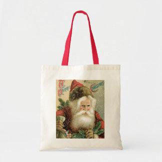 Felices Navidad pasadas de moda Papá Noel Bolsa Tela Barata