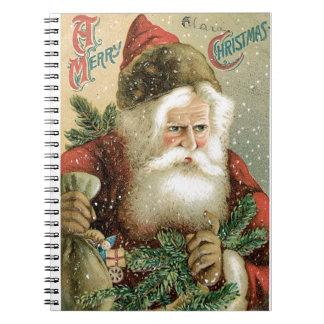 Felices Navidad pasadas de moda Papá Noel Cuaderno