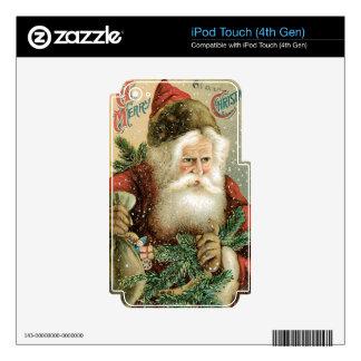 Felices Navidad pasadas de moda Papá Noel iPod Touch 4G Calcomanía