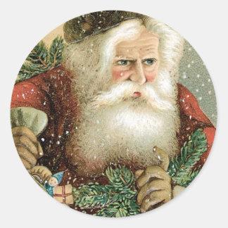 Felices Navidad pasadas de moda Papá Noel Etiqueta Redonda