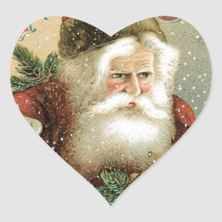 Felices Navidad pasadas de moda Papá Noel Pegatinas Corazon Personalizadas