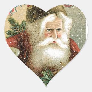 Felices Navidad pasadas de moda Papá Noel Pegatina En Forma De Corazón