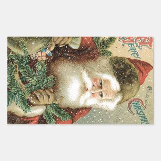 Felices Navidad pasadas de moda Papá Noel Pegatina Rectangular