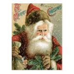Felices Navidad pasadas de moda Papá Noel Postal