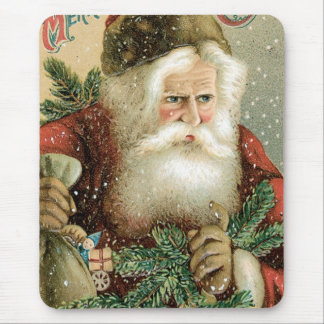 Felices Navidad pasadas de moda Papá Noel Tapetes De Raton
