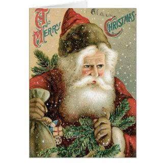 Felices Navidad pasadas de moda Papá Noel Tarjetón