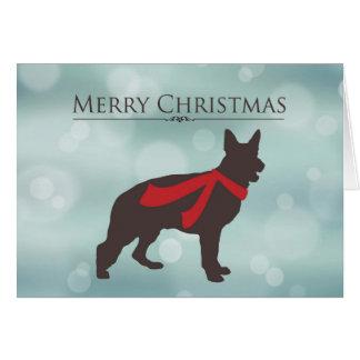 Felices Navidad, pastor alemán en la bufanda roja, Tarjeta De Felicitación